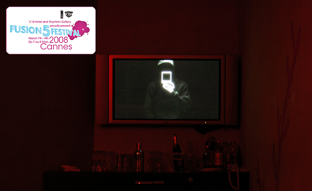 Installation view: Death on Tour video, 3:00 min loop with sound, DVD, Fusion 5 Festival, Cannes, 2008